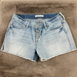 Retro Button Fly Mavi High Rise Denim Shorts